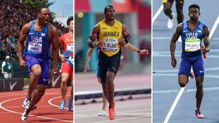 Ronnie Baker, Yohan Blake et Trayvon Bromell sont attendus en finale du 100 m à Tokyo. (AFP)