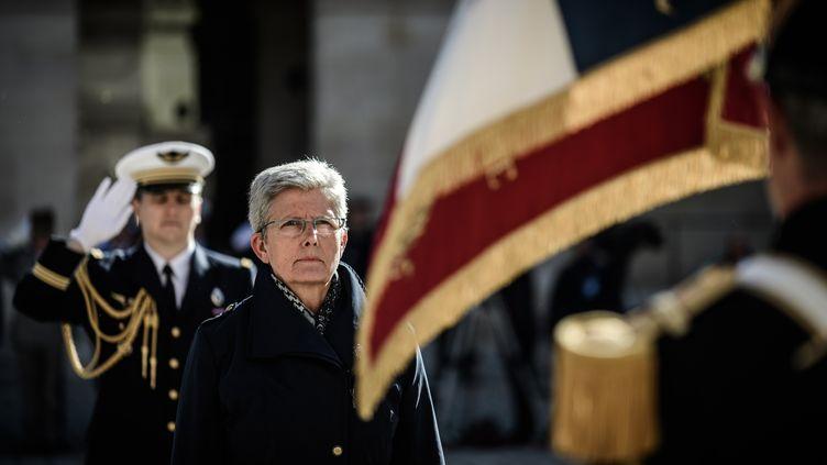 Geneviève Darrieussecq,secrétaire d'État auprès de la ministre des Armées, lors d'une cérémonie d'hommageaux harkis, le 25 septembre 2018, aux Invalides, à Paris. (PHILIPPE LOPEZ / AFP)