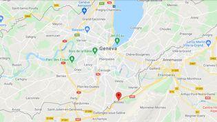 Bossey (Haute-Savoie). (CAPTURE D'ECRAN GOOGLE MAPS)