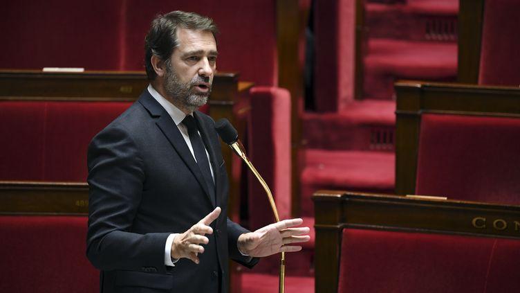 Le ministre de l'Intérieur Christophe Castaner, le 7 avril 2020, à l'Assemblée nationale, à Paris. (ALAIN JOCARD / AFP)