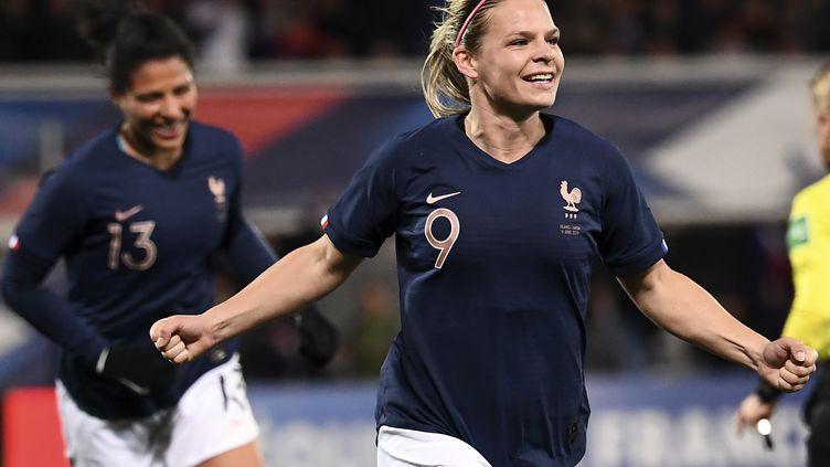 L'attaquante française Eugénie Le Sommer, buteuse contre le Japon le 4 avril 2019 (ANNE-CHRISTINE POUJOULAT / AFP)