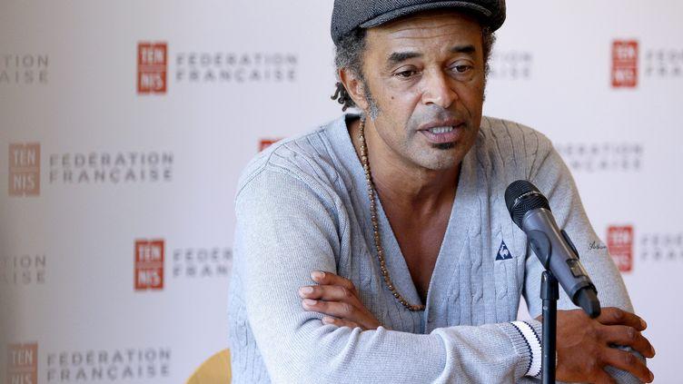Yannick Noah lors de sa première conférence de presse en tant que capitaine de l'équipe de France de tennis, le 22 septembre 2015 à Paris. (  MAXPPP)
