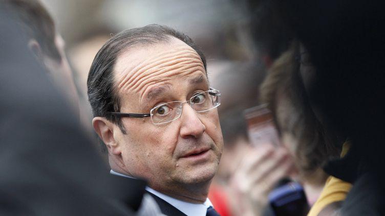François Hollande, le 5 janvier 2013 à Gaillon (Eure). (CHARLY TRIBALLEAU / AFP)