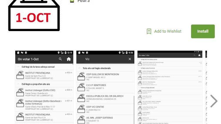"""Capture d'écran de l'application""""On Votar 1-Oct"""" qui est bloquée par Google en Espagne car jugée illégale. (GOOGLE PLAY)"""