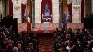 François Hollande, lundi 7 septembre 2015 au palais de l'Elysée lors de sa conférence de presse. (CHARLES PLATIAU / REUTERS)