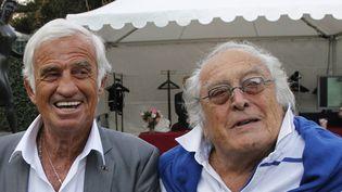 Georges Lautner (à droite) et Jean-Paul Belmondo en 2010.  (Patrick Kovarik / AFP)