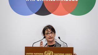 La représentante spéciale de l'ONU en Afghanistan Deborah Lyons lors d'une conférence de presse à Genève (Suisse), le 24 novembre 2020. (FABRICE COFFRINI / AFP)