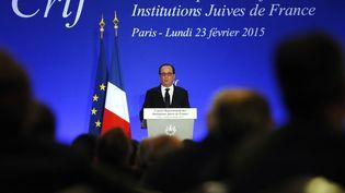 François Hollande s'exprime lors du 30e dîner annuel du Crif, le 23 février 2015, à Paris. (ETIENNE LAURENT / AFP)