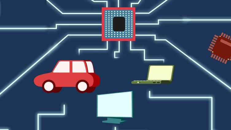 Les semi-conducteurs sont essentiels pour le fonctionnement de nos téléphones, voitures et autres appareils électroménagers. (PIERRE-ALBERT JOSSERAND / FRANCEINFO)