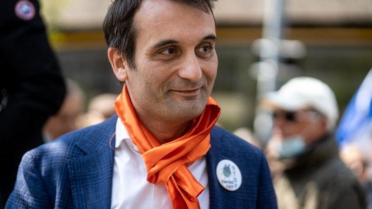 Florian Philippot, président des Patriotes, lors d'un rassemblement du parti contre les mesures du gouvernement contre le Covid-19, à Lyon (Rhône), le 17 avril 2021. (NICOLAS LIPONNE / HANS LUCAS / AFP)