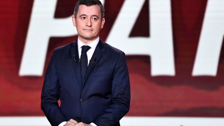 """Gérald Darmaninpendantl'émission""""Vous avez la parole"""", le 11 février 2021, sur France 2. (STEPHANE DE SAKUTIN / AFP)"""