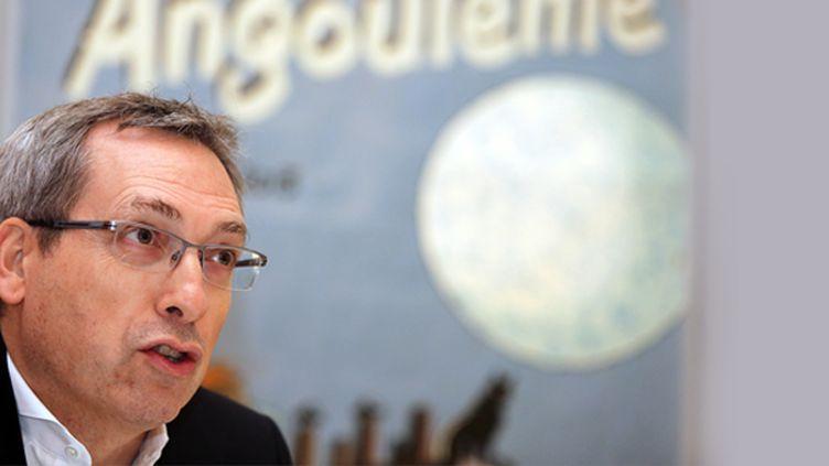 Guy Delcourt au Festival d'Angoulême le 30 janvier 2014  (NICOLAS TUCAT / AFP)