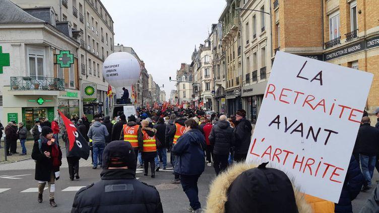 Manifestation contre la réforme des retraites à Reims (Marne), le 24 janvier 2020.                                        (AURÉLIE JACQUAND / RADIO FRANCE)