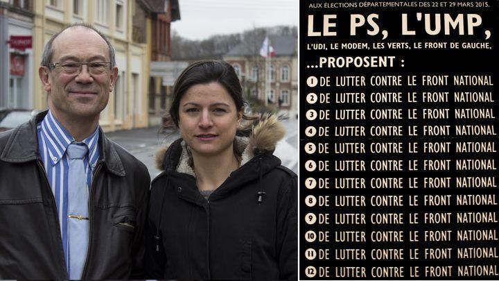 Armand Pollet et Marion Saillard, candidats FN aux départementales, dans le centre-ville de Guise (Aisne), le 25 mars 2015,et leur tract pour le second tour du scrutin. (MATHIEU DEHLINGER)