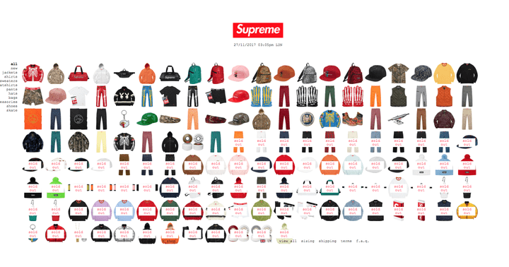 Capture d'écran de la boutique en ligne de la marque Supreme. La plupart des vêtements et accessoires sont épuisés, quelques jours après leur mise en vente. (SUPREME)