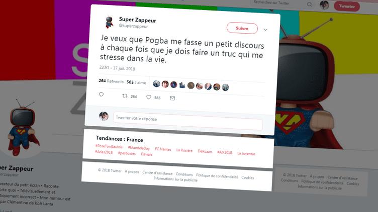"""Capture d'écran d'un tweet publié durant la diffusion du documentaire""""Les Bleus 2018, au cœur de l'épopée russe"""", mardi 17 juillet 2018, sur TF1. (SUPERZAPPEUR / TWITTER)"""