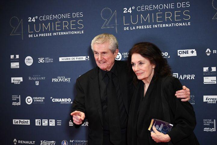 Claude Lelouch et Anouk Aimée à la 24e cérémonie des Lumières (janvier 2019)  (ANNE-CHRISTINE POUJOULAT / AFP)