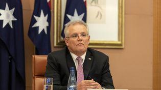 Le Premier ministre australien Scott Morrison lors d'une vidéoconférence avec les leaders du G20 à propos du coronavirus, le 26 mars 2020 à Canberra. (GARY RAMAGE / POOL / AFP)