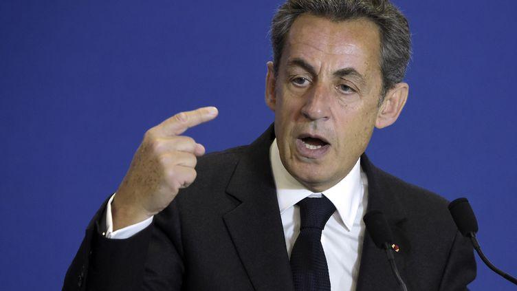 Nicolas Sarkozy, le président de l'UMP, le 17 janvier 2015 au siège du parti, à Paris. (LIONEL BONAVENTURE / AFP)