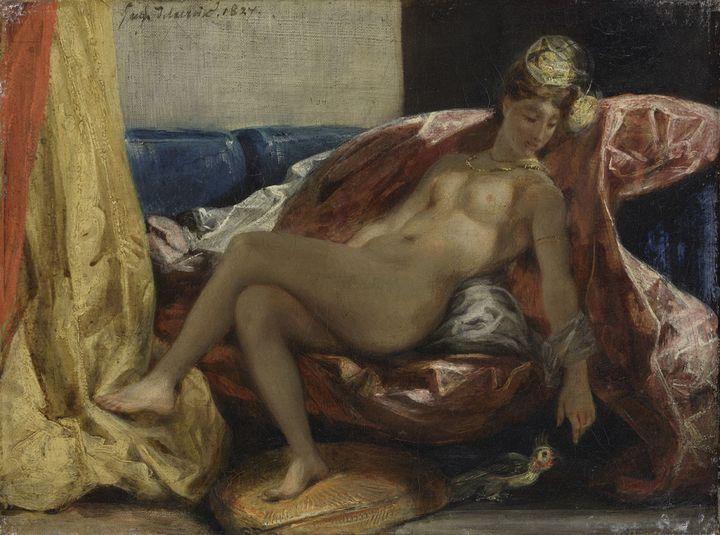 """Eugène Delacroix, """"Femme nue au perroquet"""". Entre 1826 et 1829 - Lyon, Musée des Beaux-Arts  (Lyon MBA / Photo Alain Basset)"""