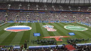 Juste avant le match d'ouverture de la Coupe du monde entre la Russie et l'Arabie saoudite, le 14 juin 2018 au stade Loujniki de Moscou. (JUAN MABROMATA / AFP)