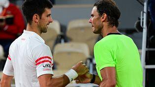 La poignée de mains entre deux monstres à l'issue de leur 58e duel sur le circuit, l'un des plus beaux entre Rafael nadal et Novak Djokovic en demi-finale de Roland-Garros le 11 juin 2021. (MARTIN BUREAU / AFP)