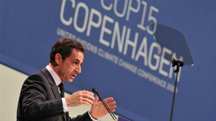 Nicolas Sarkozy jeudi 17 février, lors de la conférence de Copenhague sur le climat à Copenhague. (AFP)