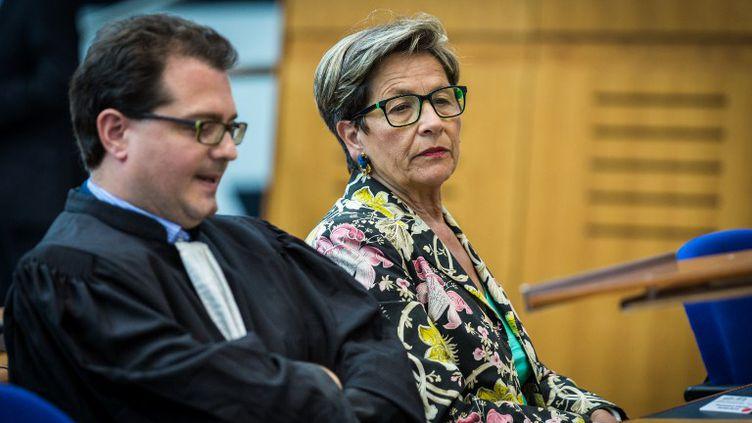 La mère de Vincent Lambert, Viviane Lambert, à laCour européenne des droits de l'Homme, le 5 juin 2015, à Strasbourg. (CLAUDE  TRUONG-NGOC / AFP)