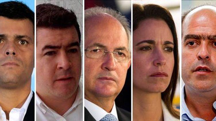 Leopoldo Lopez, Daniel Ceballos, Antonio Ledezma, Maria Corina Machado, Julio Borges (AFP PHOTO / REUTERS)