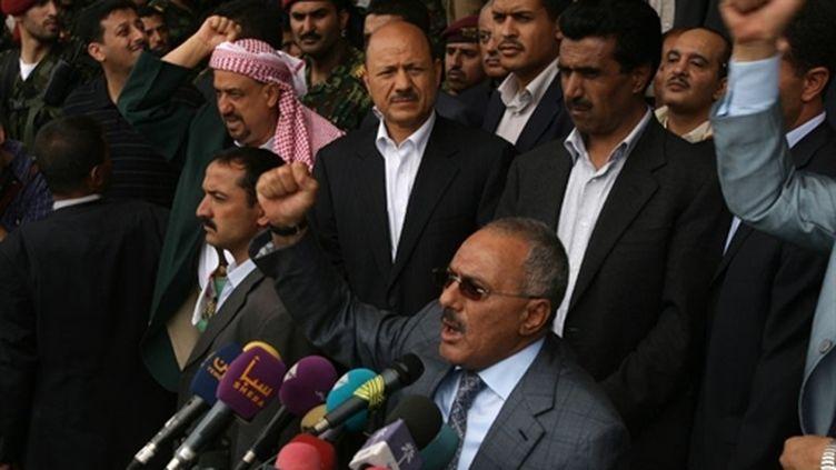 Le président yéménite, Ali Abdullah Saleh, s'adressant à des partisans le 8 avril 2011 à Sanaa, capitale du Yémen (AFP - MOHAMMED HUWAIS)