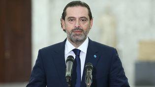L'ancien Premier ministre libanais Saad Hariri, lors d'une conférencede presse à Beyrouth, le 14 juillet 2021. (LEBANESE PRESIDENCY/HANDOUT / ANADOLU AGENCY / AFP)
