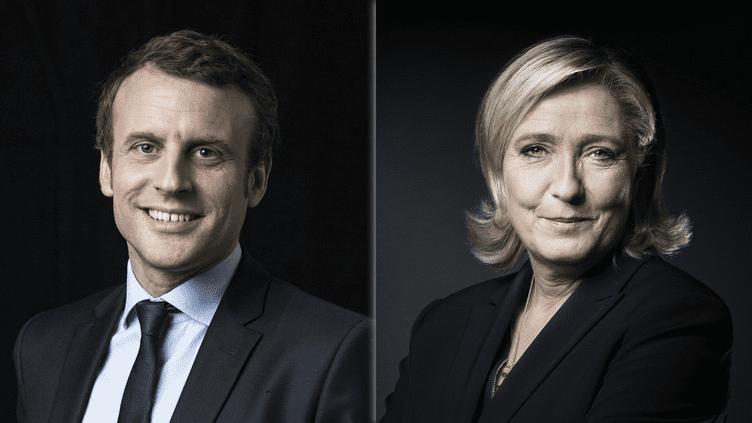 Deux des onze candidats à l'élection présidentielle, Emmanuel Macron et Marine Le Pen, posent dans le cadre d'une séance photo pour l'Agence France-Presse. (AFP)