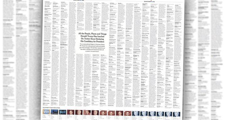 """La liste des insultes et des attaques diffusées sur le compte Twitter de Donald Trump, publiées par le """"New York Times"""", le 24 octobre 2016. (NEW YORK TIMES)"""