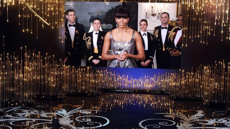 """Michelle Obama a fait une apparition surprise et inédite de la part d'une """"First Lady"""", le 24 février 2013,lors de la 85e cérémonie des Oscars. (GETTY IMAGES NORTH AMERICA / AFP)"""