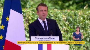 Emmanuel Macron s'exprime lors des commémorations du massacre d'Ouradour-sur-Glane, le 10 juin 2017. (FRANCEINFO)