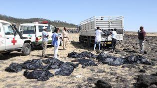 L'équipe des secours sur les lieux du crash d'un avion de l'Ethiopia Airlines près de Bishoftu, à 60 km d'Addis-Abbeba, en Ethiopie, le 10 mars 2019. (MICHAEL TEWELDE / AFP)