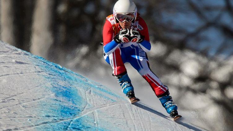 A l'entrainement, la française Marie Marchand-Arvier esten compétition dans le super G aux Jeux olympiques d'hiver de Sotchi. le 7 février 2014. ( AFP  )