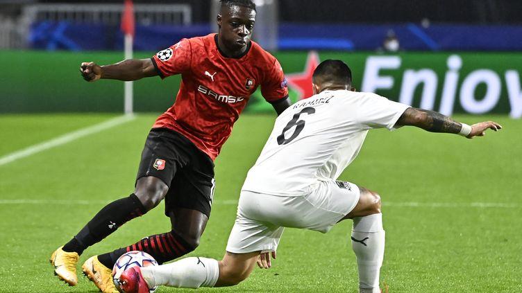 Jonathan Doku a tenté de mettre le feu dans la défense de Krasnodar en fin de match, en vain. (DAMIEN MEYER / AFP)