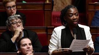 La députée de la France insoumise Danièle Obono prend la parole à l'Assemblée nationale, à Paris, le 19 décembre 2018. (PHILIPPE LOPEZ / AFP)