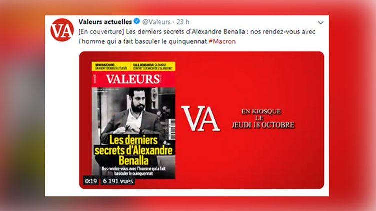 """Tweet vidéo de l'hebdomadaire """"Valeurs actuelles"""" présentant son dernier numéro, le 18 octobre 2018. (CAPTURE ECRAN TWITTER)"""