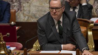 Le président de l'Assemblée nationale, Richard Ferrand, lors des débats sur la réforme des retraites, le 17 février 2020 à Paris. (DOMINIQUE BOUTIN / SPUTNIK)