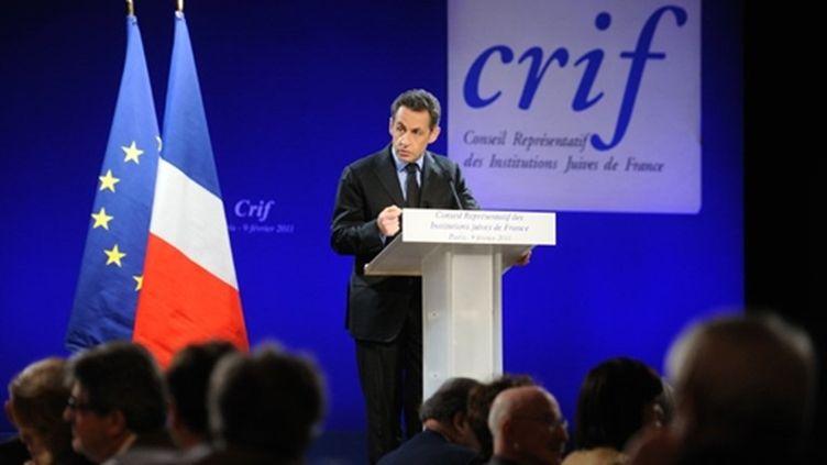 Nicolas Sarkozy durant son discours au dîner annuel du Crif, le 09 février 2011 (AFP/ERIC FEFERBERG)