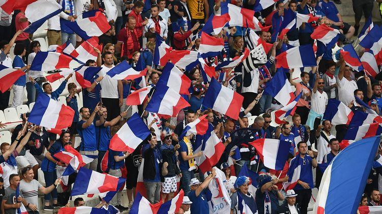 Les supporters français lors du match France-Albanie au stade Vélodrome de Marseille, le 15 juin 2016. (ANNE-CHRISTINE POUJOULAT / AFP)