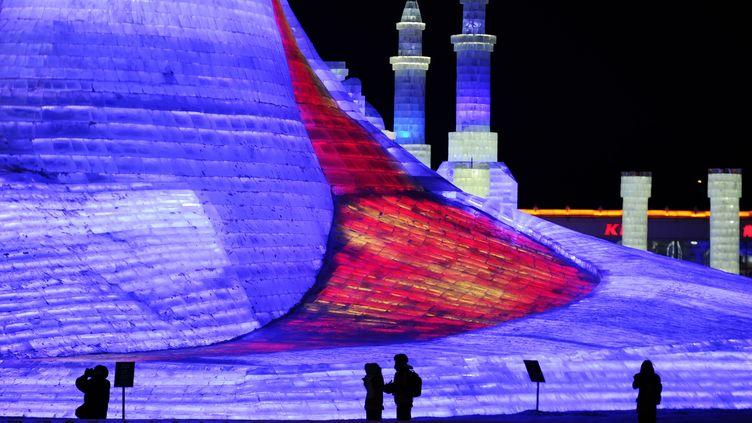 Des touristes s'émerveillent des scultpures de glace du 32e Festival de Harbin, en Chine, le 5 janvier 2016. (WANG SONG / XINHUA/AFP)
