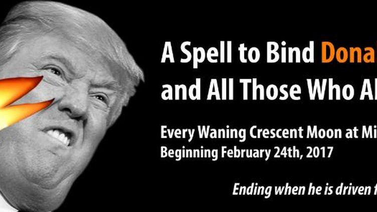 """Capture écran de l'événement Facebook """"Mass spell to bind Donald Trump"""", vendredi 24 février 2017. (MASS SPELL TO BIND DONALD TRUMP)"""
