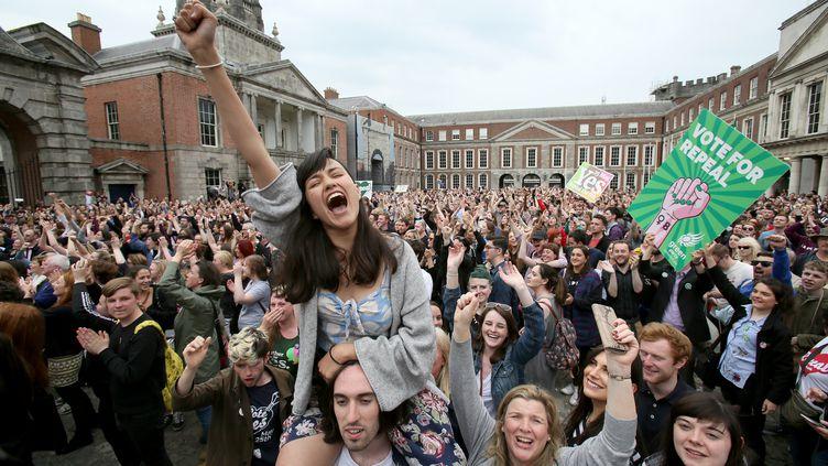 Les pro-avortement exultent à l'annonce des résultats du référendum, le 26 mai à Dublin. (PAUL FAITH / AFP)