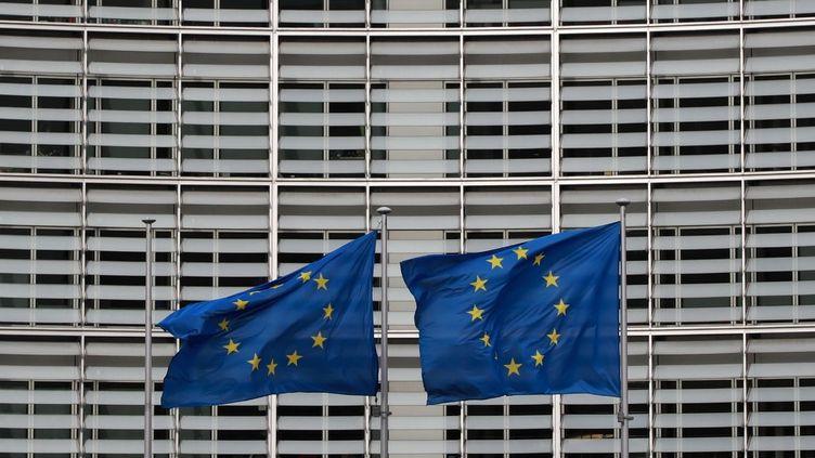 Des drapeaux européens flottent à Bruxelles au second jour d'un sommet spécial du Conseil européen, le 21 février 2020. Photo d'illustration. (LUDOVIC MARIN / AFP)