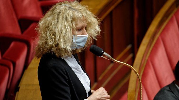 La députée Martine Wonner à l'Assemblée nationale à Paris, le 10 mai 2021. (DANIEL PIER / NURPHOTO / AFP)