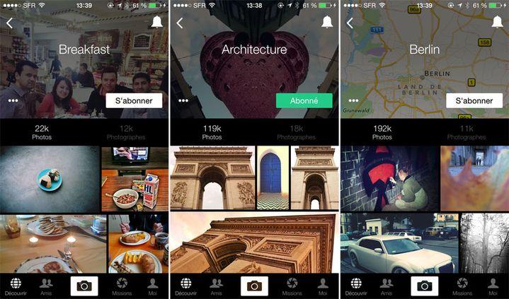 Quelques exemples de catégories de photos sur l'application EyeEm. (DR)