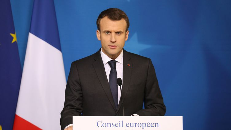 Emmanuel Macron à Bruxelles, le 23 mars 2018. (LUDOVIC MARIN / AFP)